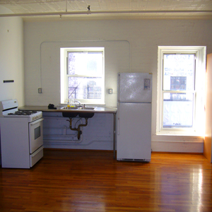 kitchen at 2A park slope brooklyn loft apartment stainless steel counter