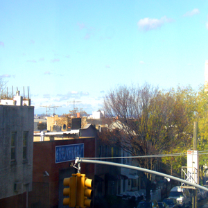 view of 5th ave. from loft apartment in park slope brooklyn