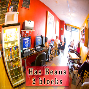 has bean coffee shop with wifi  2 blocks
